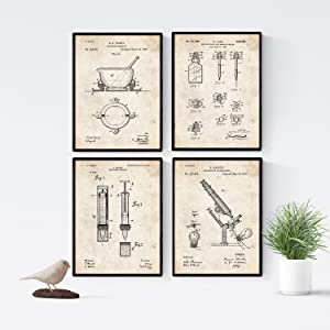Nacnic Prints Vintage Patents Pharmacy - Set of 4 - Unframed 8x11 inch Size - 250g Paper - Beautiful Poster Painting for Home Office Living Room