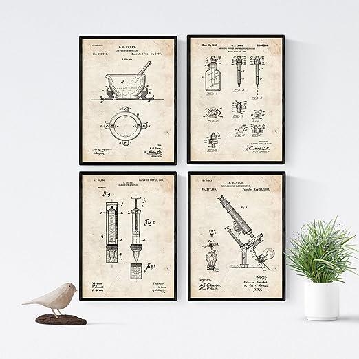 Nacnic Vintage - Pack de 4 Láminas con Patentes de Farmacia. Set ...