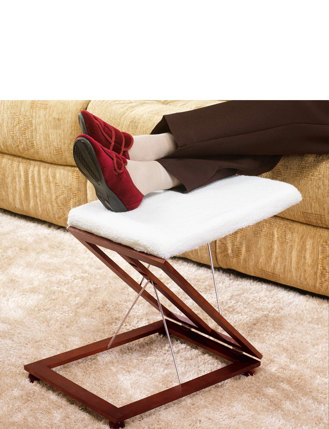 Chums New & Improved Fleece Covered Adjustable Footstool Mahogany One Size