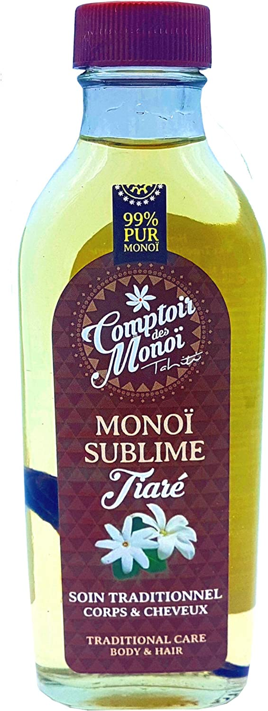 Veritable Monoi de Tahiti - Sublime Tiara Natural - PUR 99% Monoi - Comptoir del Monoi - para Corp y cabello - fabricado en Francia - nuevo formato flacon vidrio 100 ml