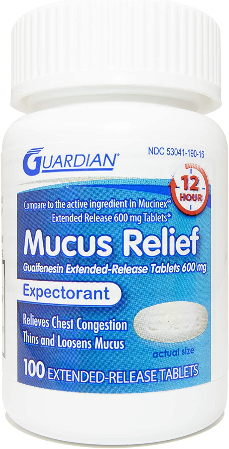 Guardian Mucus Relief, 600mg Guaifenesin 12 Hour Extended Release, Chest Congestion Expectorant (100 Count Bottle)