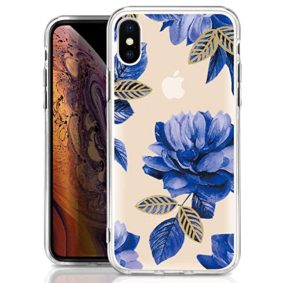 sale retailer 942c6 579e1 ivencase iPhone Xs Max Case,iPhone Xs Max Clear Silicone Case with  Flower,Shockproof Soft TPU Thin Clear Cute Bling Floral Bumper Cover for  iPhone Xs ...
