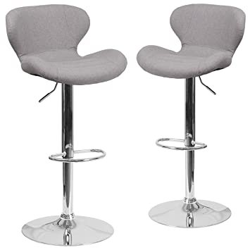 Remarkable Flash Furniture 2 Pk Contemporary Gray Fabric Adjustable Height Barstool With Curved Back And Chrome Base Gmtry Best Dining Table And Chair Ideas Images Gmtryco