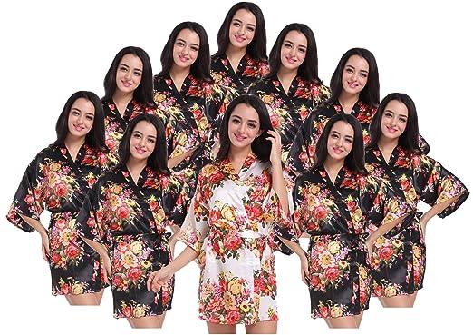 d2bdcc412866 Women s Kimono Floral Robes for Bride and Bridesmaid Wedding Party Satin  Robes Short