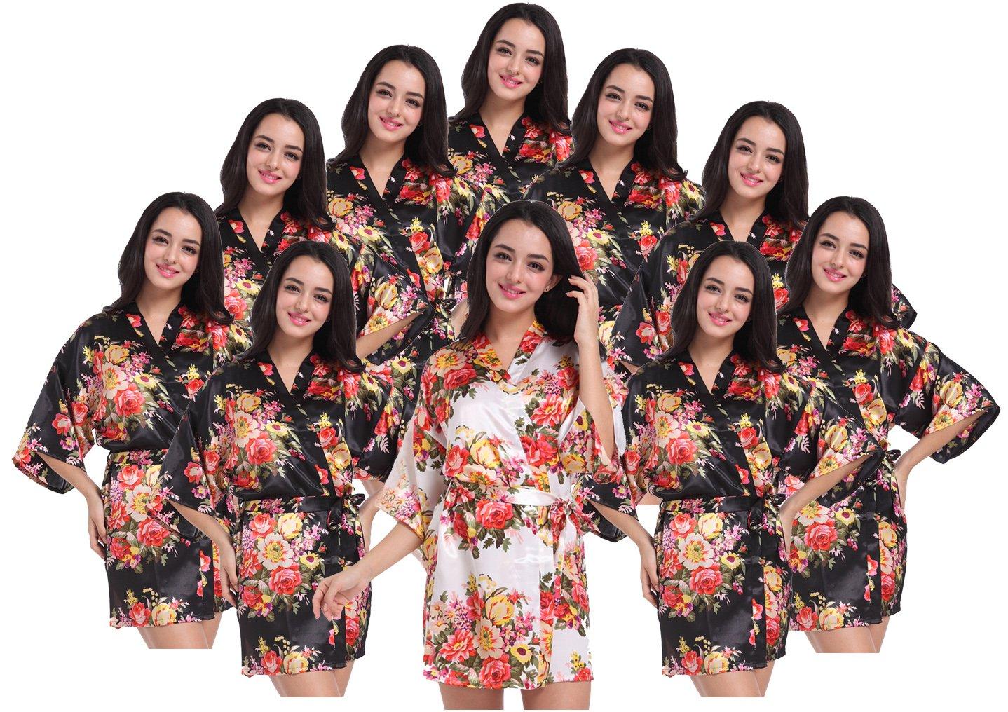 Women's Kimono Floral Robes for Bride and Bridesmaid Wedding Party Satin Robes Short