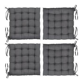 Levivo - Set de 4 Cojines Acolchados, Cojines (para sillas o para el jardín, 40 x 40 x 5 cm Aprox.), Gris