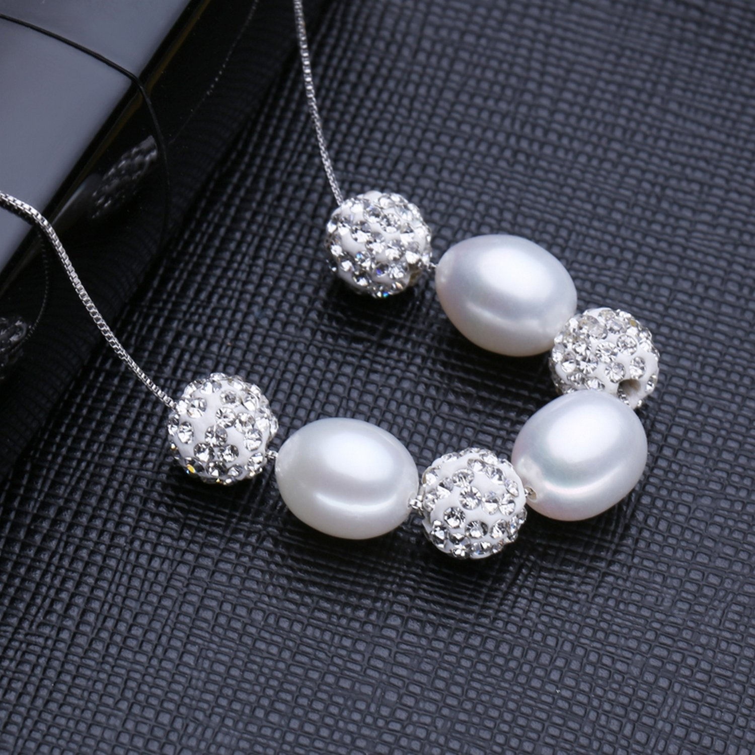 CS-DB Jewelry Silver Pearl Stylish Chain Charm Pendants Necklaces