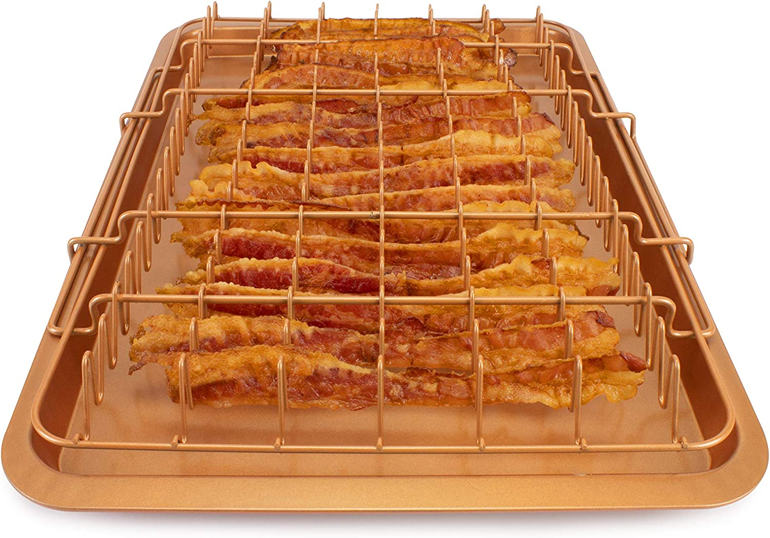 EaZy MealZ Bacon Rack & Tray Set XL Copper, Family Size for 2-5