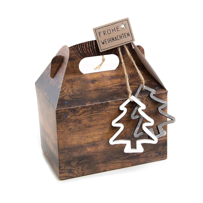 10piccole scatole di Natale 18, 5x 12, 5x 12cm Confezione Buon Natale per clienti regali di Natale marrone naturale regalo scatole scatola regalo Jeanette Dietl