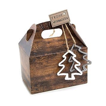 20 Cajas Pequeñas weihnachtliche 18,5 x 12,5 x 12 cm feliz navidad del paquete para clientes Regalos de Navidad marrón natural regalo Cajas Präsent Caja: ...