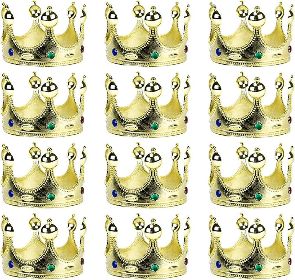 12-Pack Golden King's and Queen's Crown Halloween Costume Accessory - Dress Up Theme Party Roleplay & Cosplay Headwear