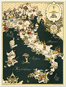 Gourmet Map of Italy - Carta Gastronomica de Bel Paese circa 1949 - measures 24 inches x 32 inches (610 mm x 813 mm)