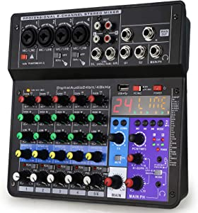 6 Channel Audio Mixer - Portable Digital Line Mixer Console Build-in 24 DSP Effects BT Function48V Phantom Power for KaraokeStreaming by YOUSHARES
