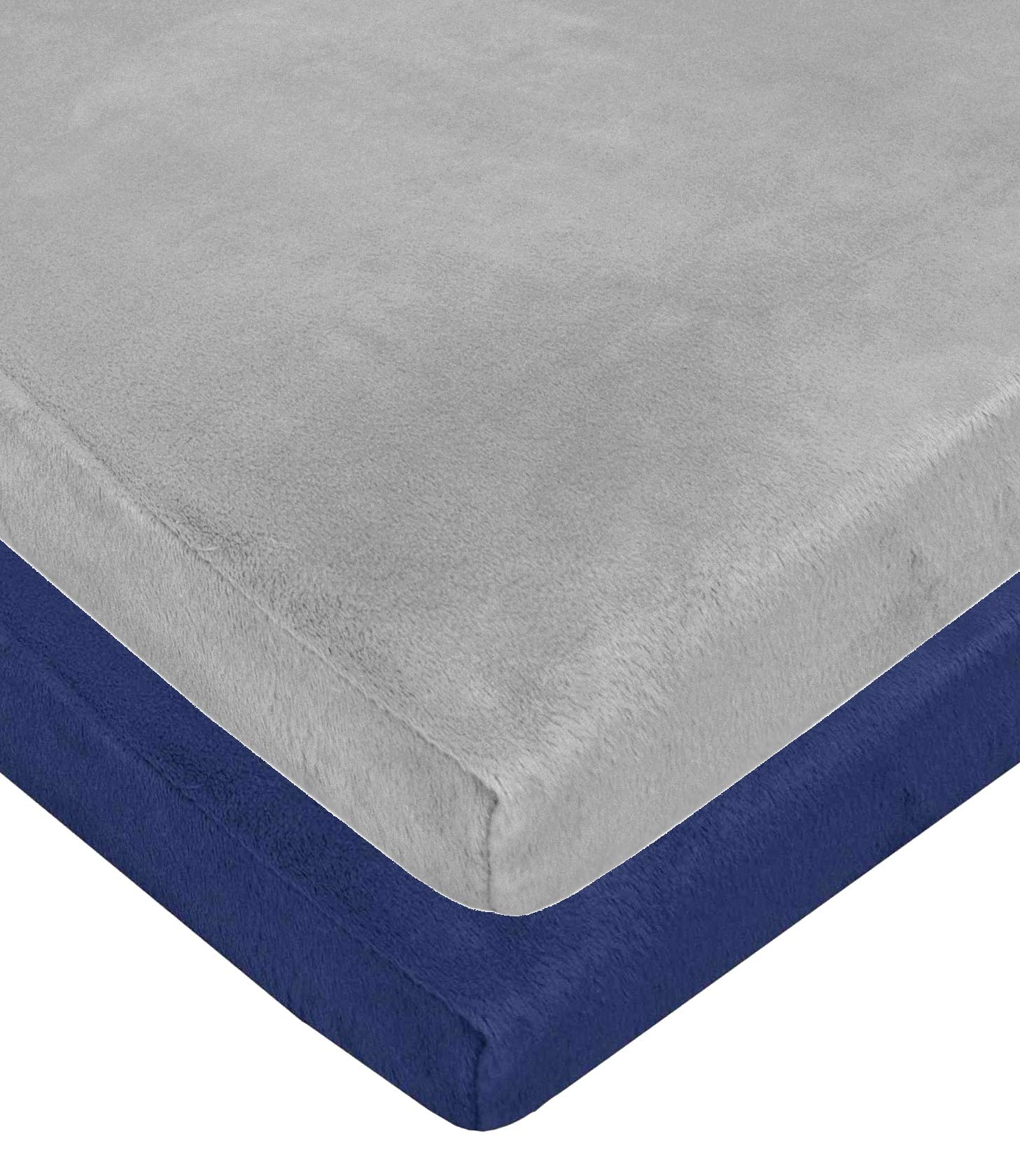 American Baby Company Heavenly Soft Chenille Fitted Pack N Play Playard Sheet, Navy/Gray (2 Pack), 27'' x 39''