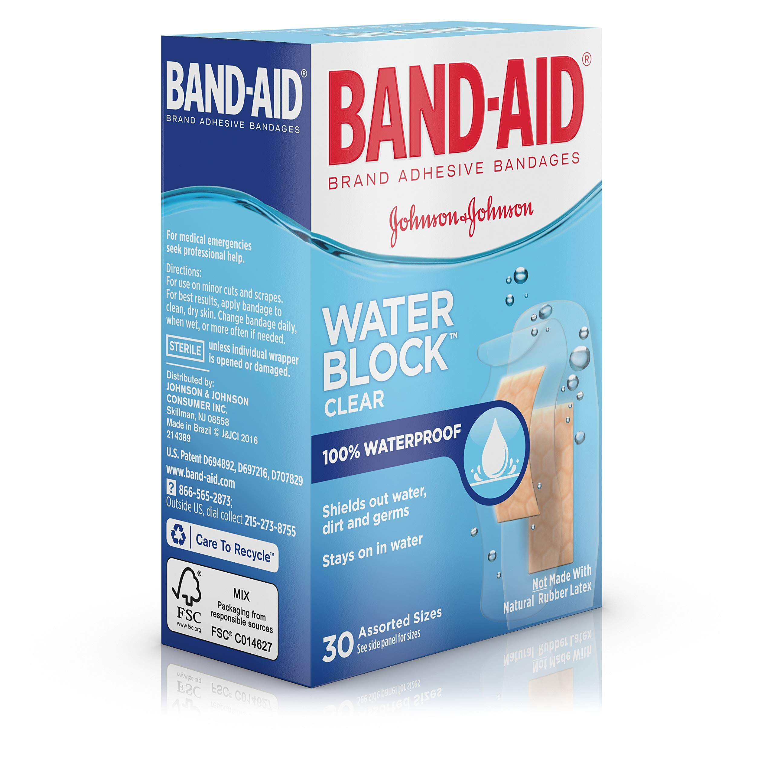 Band-Aid Brand Water Block Plus Waterproof Clear Adhesive Bandages for Minor Cuts and Scrapes, 30 ct (6 Pack) by Band-Aid (Image #8)