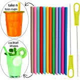 Tegion Short Replacement Reusable Toddlers& Kids Silicone Straws for The First Years Take & Toss Spill Proof Straw Cup and YETI RTIC Lowball Tumbler, Cocktail Straws 14 Pack Straws with 2 Brushes