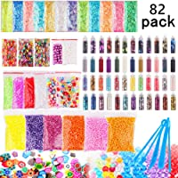 Candygirl Slime Supplies Kit,82 pack Slime Stuff Charm Include Foam Balls, Fishbowl Beads, Glitter, Fruit Slices, Pearls, Slime Mylar Flake, DIY Slime Making Kit, Girl Slime Party