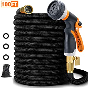 FIVKLEMNZ 100ft Garden Hose, Expandable Leakproof, Durable Lightweight, Flexible Expanding, Double Latex Core, 3/4 Solid Brass Fittings, Extra Strength Fabric, 8 Function Spray Nozzle Water Hose