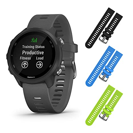 Garmin Forerunner 245 GPS Running Smartwatch with Included Wearable4U 3 Straps Bundle (Slate Grey 010-02120-00, Black/Blue/Lime)