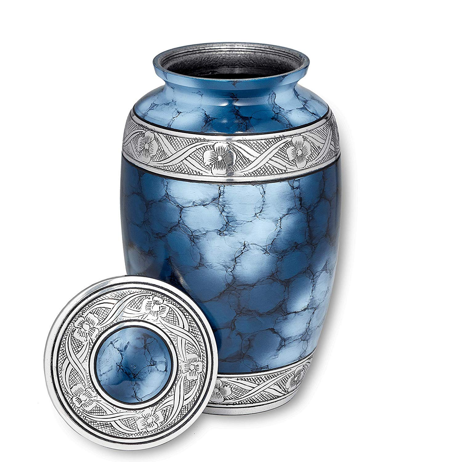 Cremation Urn for Ashes, for Adults up to 200lbs, Blue Funeral Burial Urns w Satin Bag for Human Ashes.