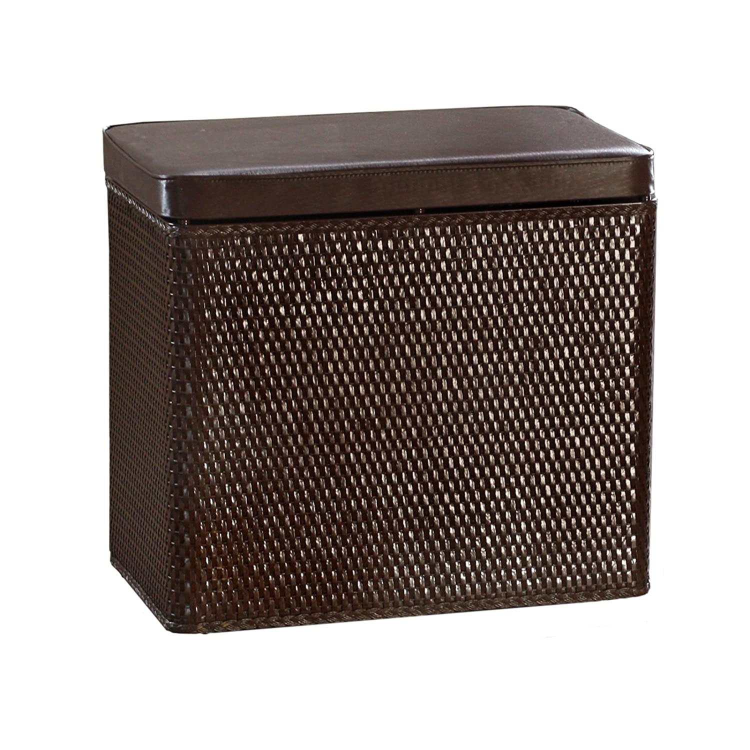 Bench Wicker Laundry Hamper with Coordinating Padded Vinyl Lid, Chocolate