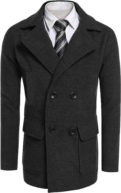 Burlady Abrigo de invierno para hombre, de manga larga, con cuello alto, botones