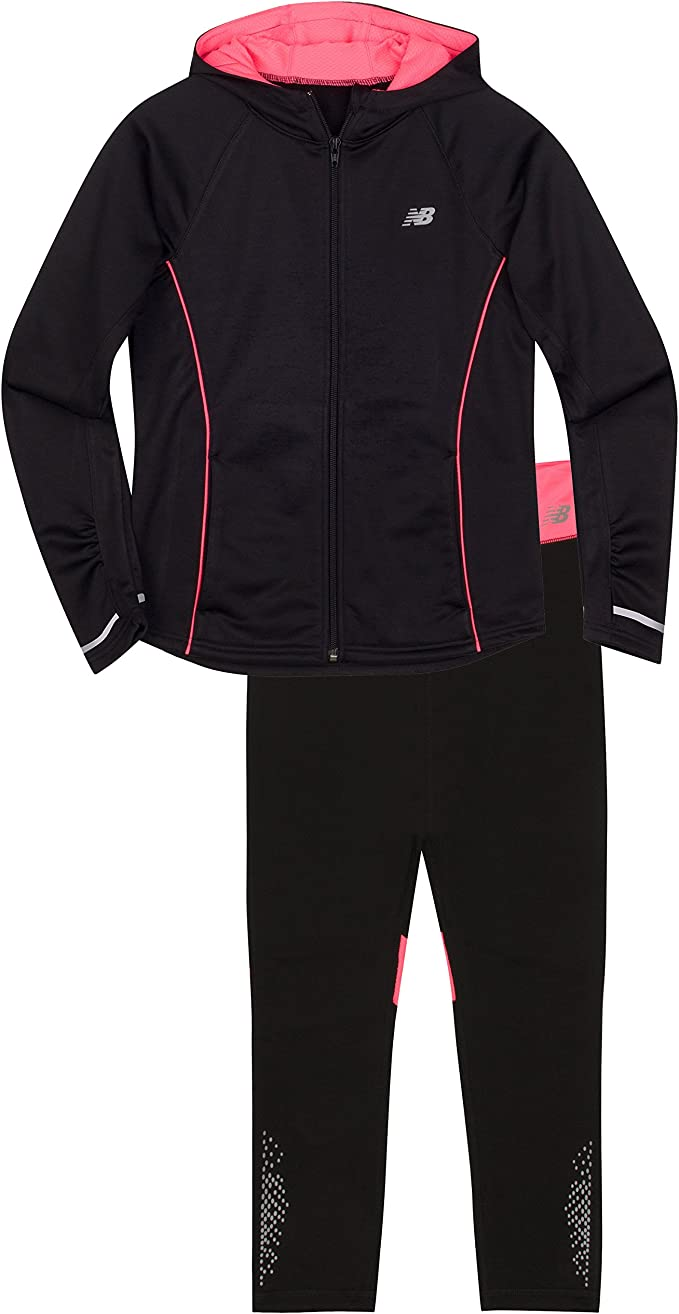 New Balance Girls Hooded Jacket and Tight Set