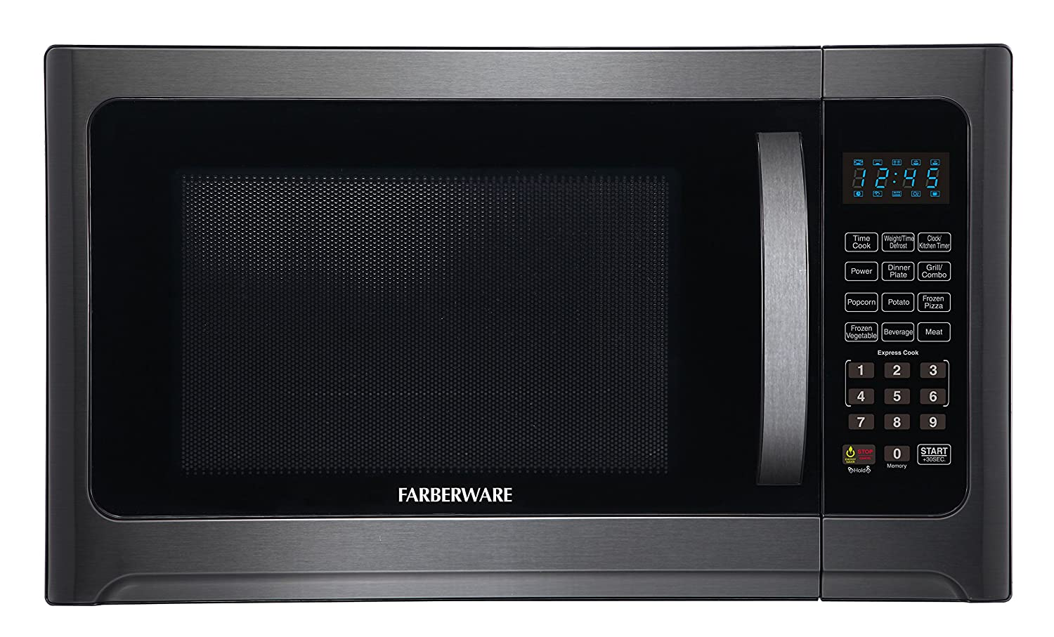 Farberware Black FMO12AHTBSG 1.2 Cu. Ft. 1100-Watt Microwave Oven with Grill with ECO Mode and LED Lighting, Black Stainless Steel
