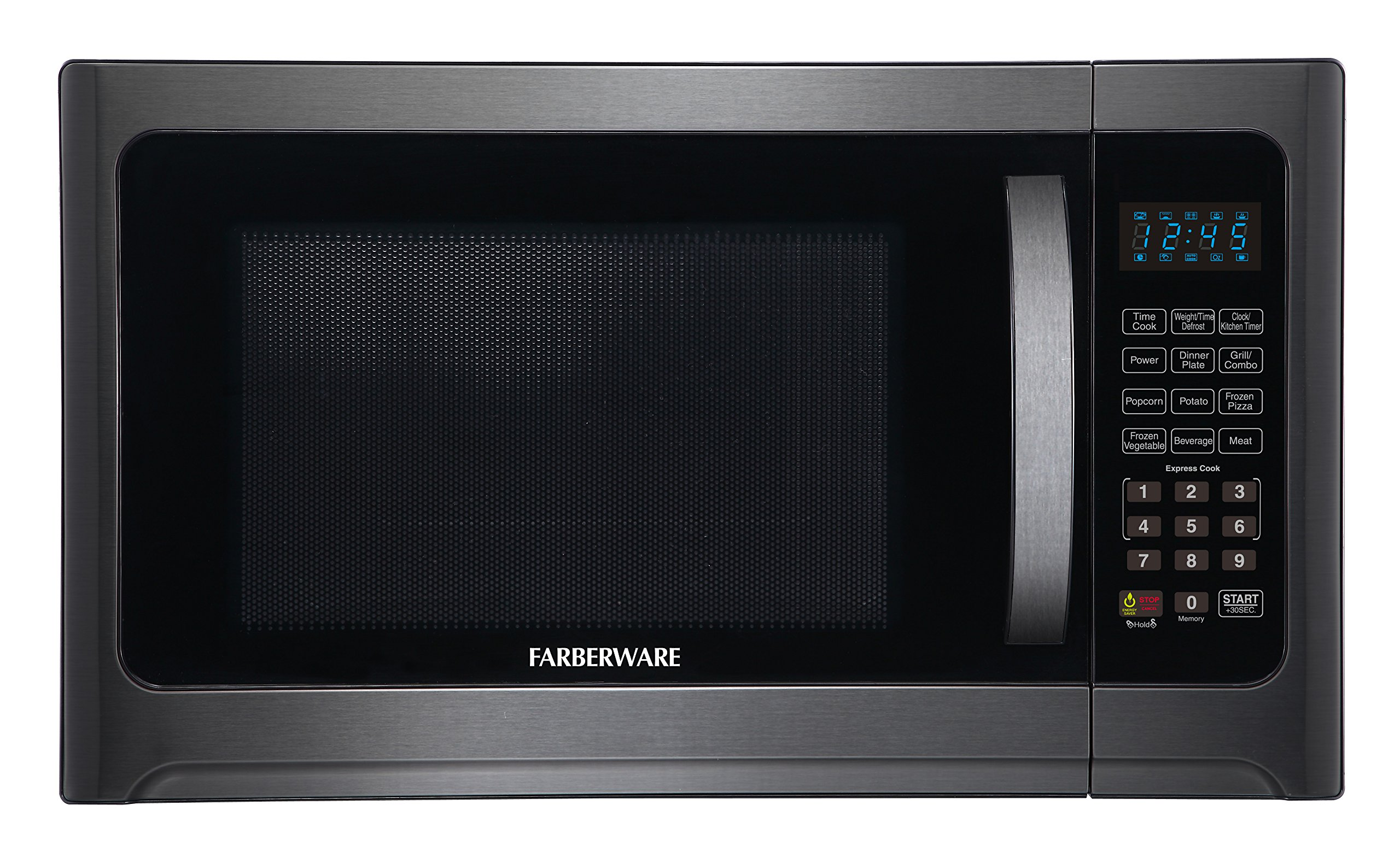 Farberware Black FMO12AHTBSG 1.2 Cu. Ft. 1100-Watt Microwave Oven with Grill, ECO Mode and Blue LED Lighting, Black Stainless Steel by Farberware