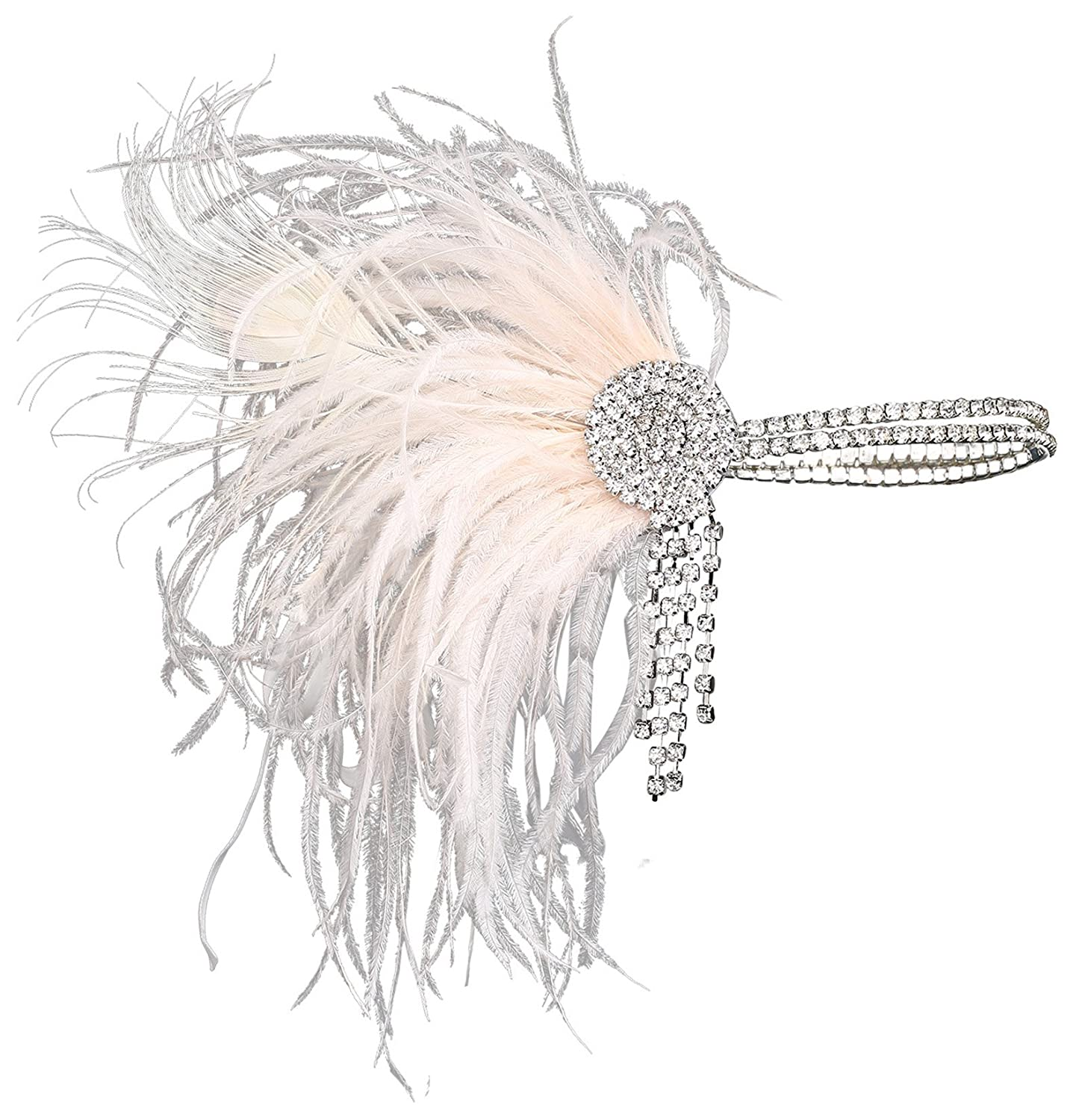 BABEYOND Vintage 1920s Flapper Headband Roaring 20s Great Gatsby Headpiece with Feather 1920s Flapper Gatsby Hair Accessorie (Pink)