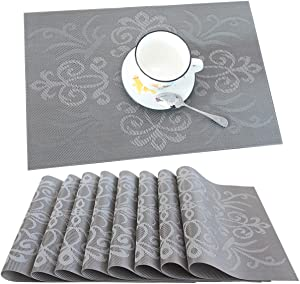 profurni Placemats for Dining Table Kitchen Table Mats Set of 8 Washable PVC Heat Resistant Place Mats Stain Resistant Non-Slip Placemat for Hotel Office,Grey