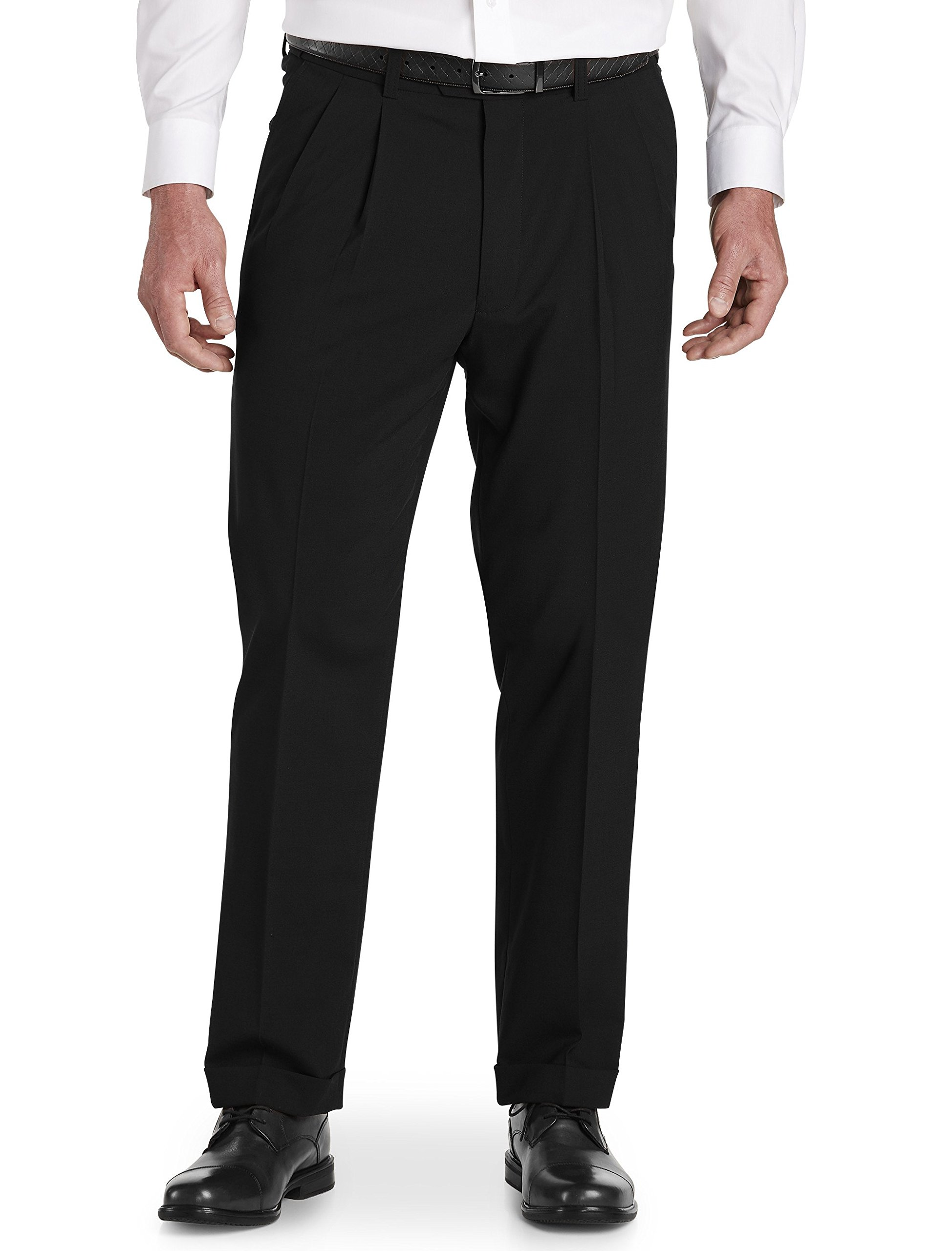 Gold Series by DXL Big and Tall Waist-Relaxer Hemmed Pleated Suit Pants Black by Gold Series