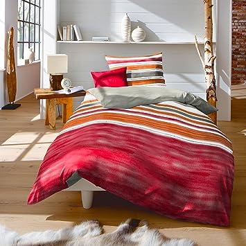 Traumschlaf Biber Bettwäsche Streifen Rot 155x220 Cm 80x80 Cm