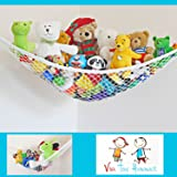 Toy Hammock - Deluxe Large Size Indoors Hammock - Creative Hanging Storage For Teddy Bears - Balls - Toys - Linen Storage & Gear - White.
