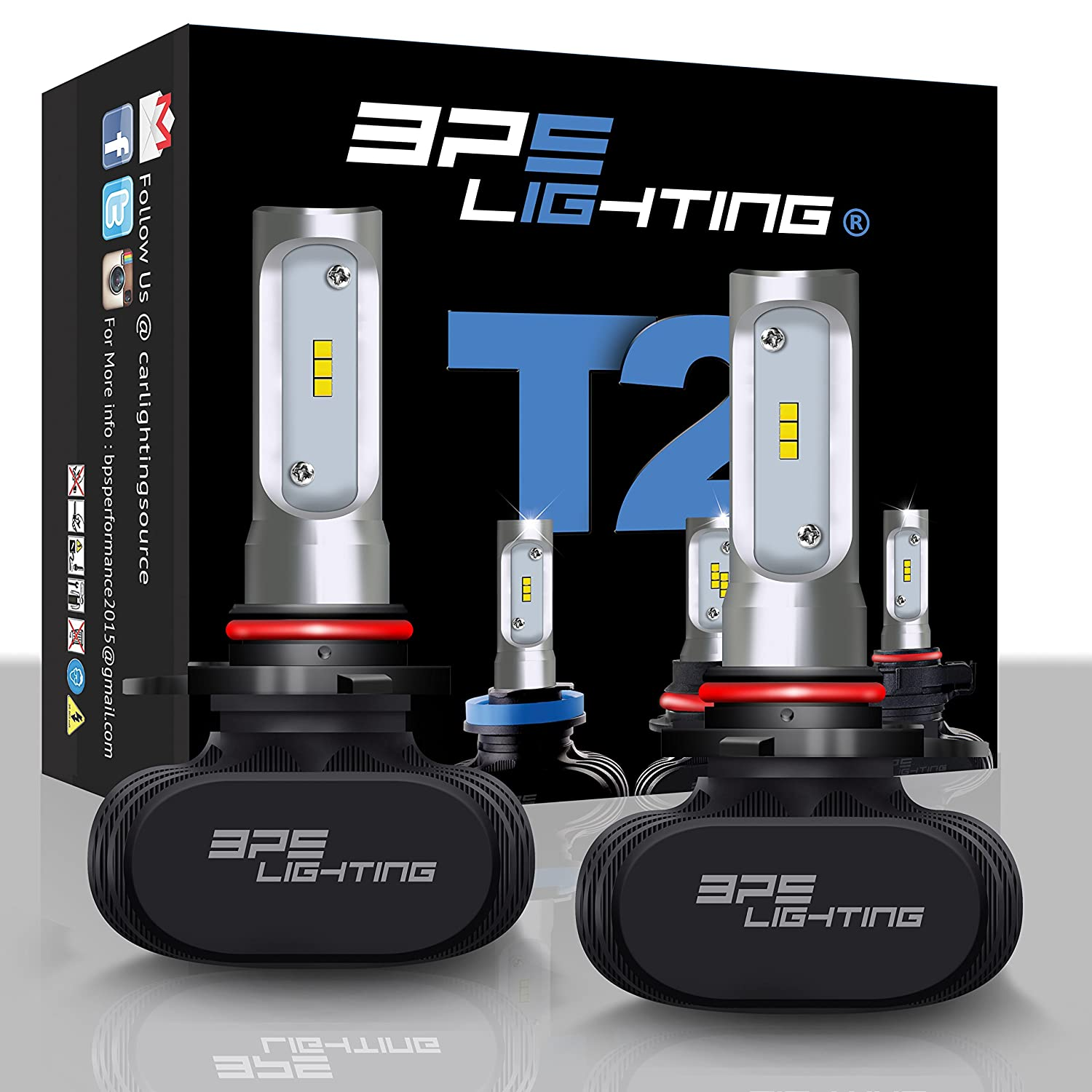 Super Bright Car and Truck Fog Light Beam BPS Lighting T2 LED Headlight Bulbs Conversion Kit 5202 50W 8000 Lumen 6000K 6500K Cool White Plug and Play All-in One