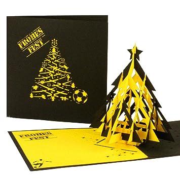 3d Pop Up Karte Fussball Weihnachten In Schwarz Gelb