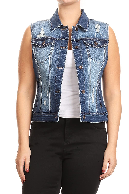 SALT TREE Women's EnJean Plus Size Distressed Denim Vest