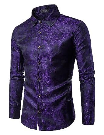 9484e781 Modfine Men's Casual Dress Shirt Button Down Fashion Shirts(Purple,Small)