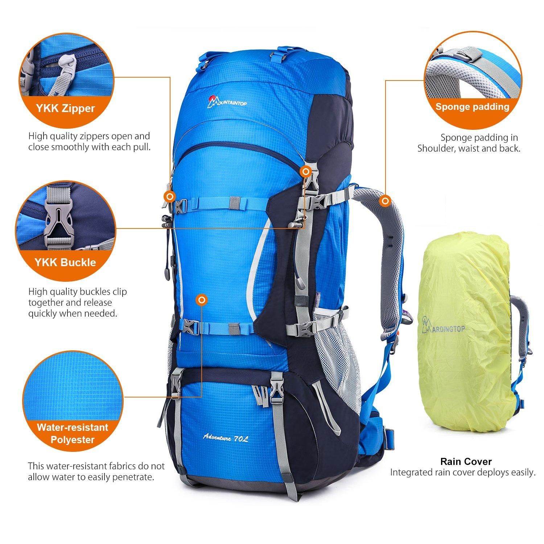 Mountaintop 70L+10L Outdoor Sport Internal Frame Backpack Hiking Backpack