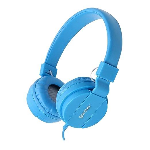 ONTA gorsun Foldable On Ear Audio Adjustable Lightweight Headphone for Kids Cellphones Smartphones iPhone Laptop Computer Mp3/4 Earphones (Blue)