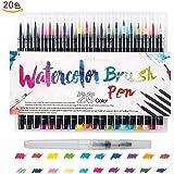 カラーペン ONUEMP水彩毛笔 20色套装筆ペン 水性ペン収納ケース付き 塗り絵 画筆 絵用