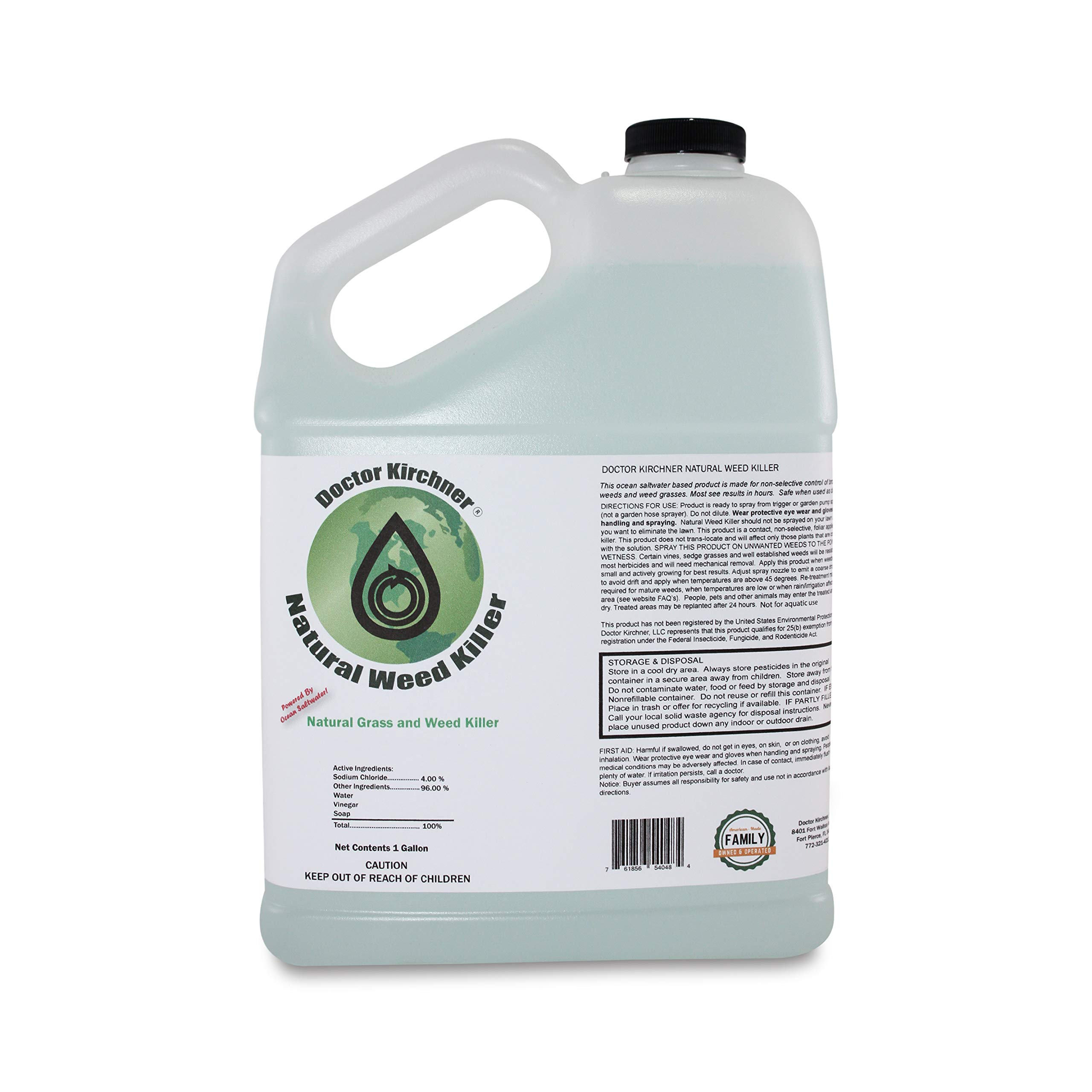 Natural Weed Killer Made with Ocean Water and Commercial Food Grade Vinegar Pet Friendly (1 Gallon)
