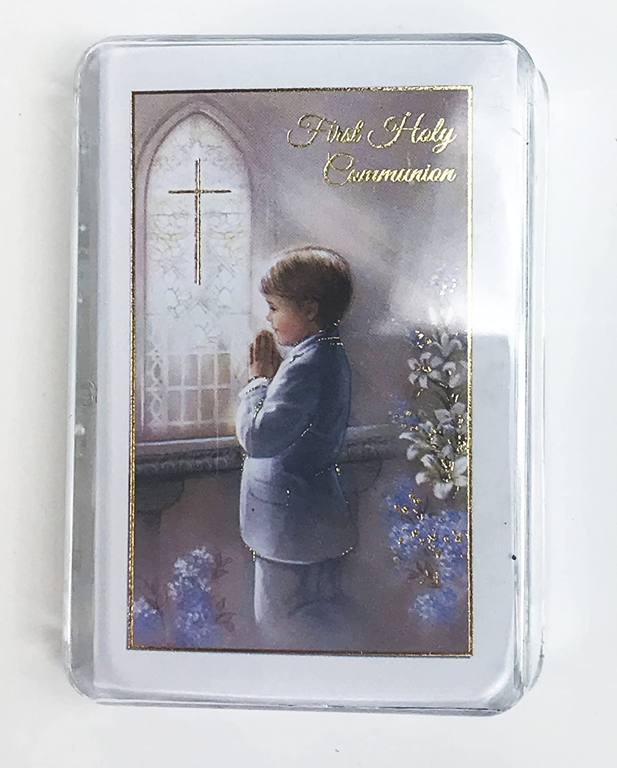 Holy Communion Gifts Boys Rosary Beads Blue /& 1st First Prayer Book Set Him Box