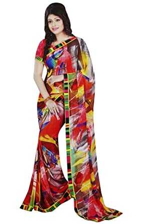 b312520365 Image Unavailable. Image not available for. Colour: Latest Fashion Sari  Indian Costume Unstitched Floral Print Georgette Saree
