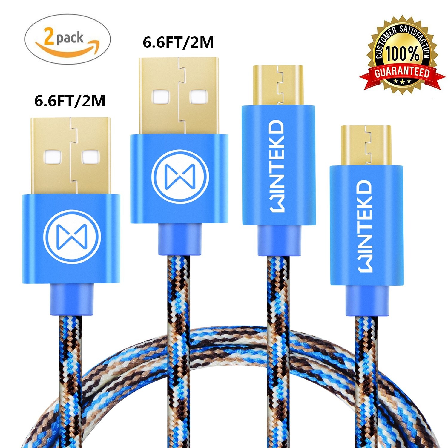 Micro USB Android Cable, Wintekd [2-Pack 6.6ft] Premium Nylon Braided High Speed USB to Micro USB Charging Cord Android Fast Charger for Samsung Galaxy S7/S6/S5/Edge,Note 5/4/3,HTC,LG - (Camo Blue)