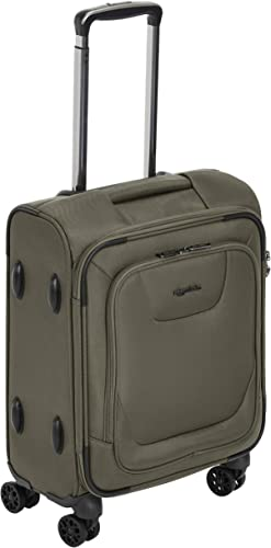 AmazonBasics Premium Expandable Softside Spinner Luggage With TSA Lock – 18-Inch International Carry-On, Olive