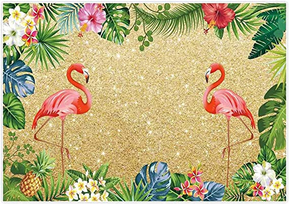 Pink Flamingo Birthday Backdrop Green Palm Plants Photography Background Summer Tropical Hawaiian Floral Backdrop Bridal Shower Birthday Backdrop Wedding Backdrops 10x7ft E00T10305