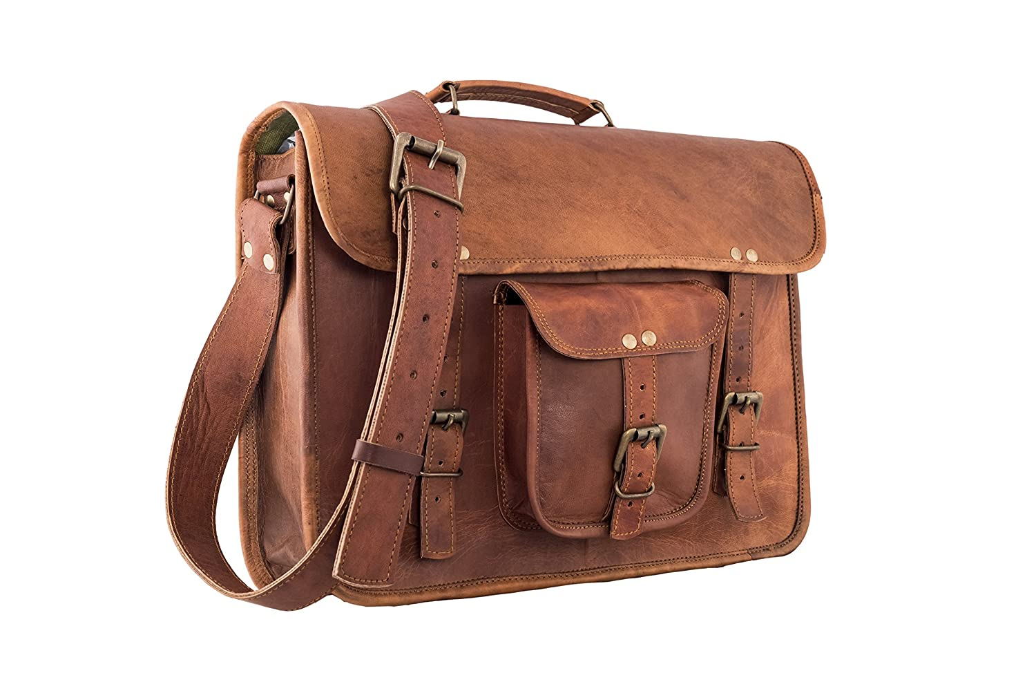 3f9e9be065 Amazon.com  16 Inch Vintage Leather Messenger Bag Briefcase Fits upto 15.6 Inch  Laptop CYBER MONDAY SALE  Home   Kitchen