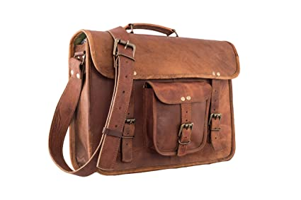 1ec4633068 Image Unavailable. Image not available for. Color  16 Inch Vintage Leather  Messenger Bag Briefcase Fits upto 15.6 Inch Laptop CYBER ...