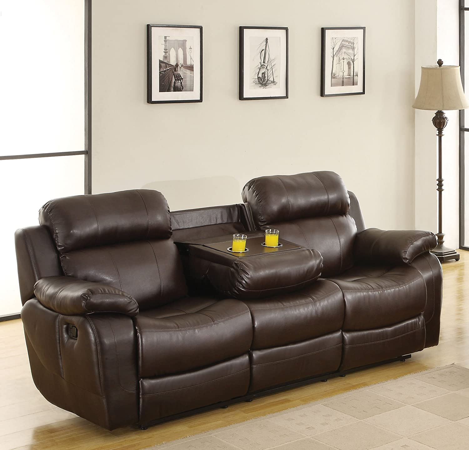 Amazon.com Homelegance Marille Reclining Sofa w/ Center Console Cup Holder Brown Bonded Leather Kitchen u0026 Dining : recliner sofa with console - islam-shia.org